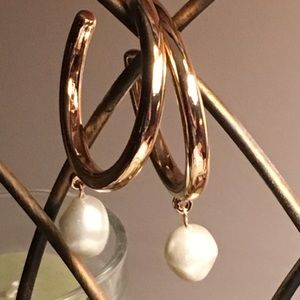 Jewelry - Large Gold Tone & Faux Pearl Hoops